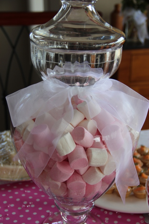 Pink and white marshmallows made for the perfect table centrepiece