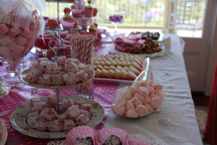 It's all in the details. Pink meringues, turkish delight and finger sandwiches made for a stunning spread/