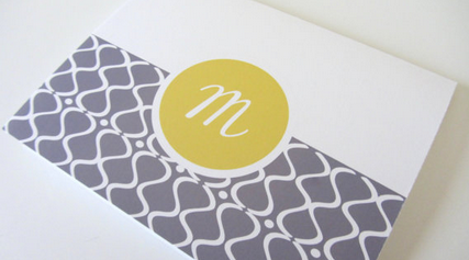 This grey and yellow option is perfect for someone with more modern taste. Again, from Etsy.