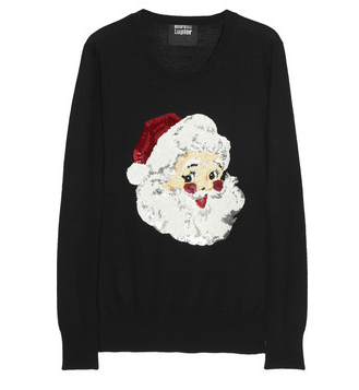 Markus Lupfer sequin-embellished 'Santa Claus' sweater. Why wouldn't you want to wear sequined version of the jolly fat man? From Net-a-Porter